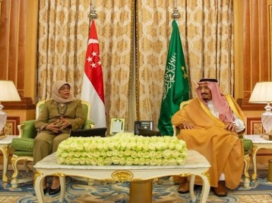 بالصور.. خادم الحرمين يعقد جلسة مباحثات رسمية مع رئيسة سنغافورة