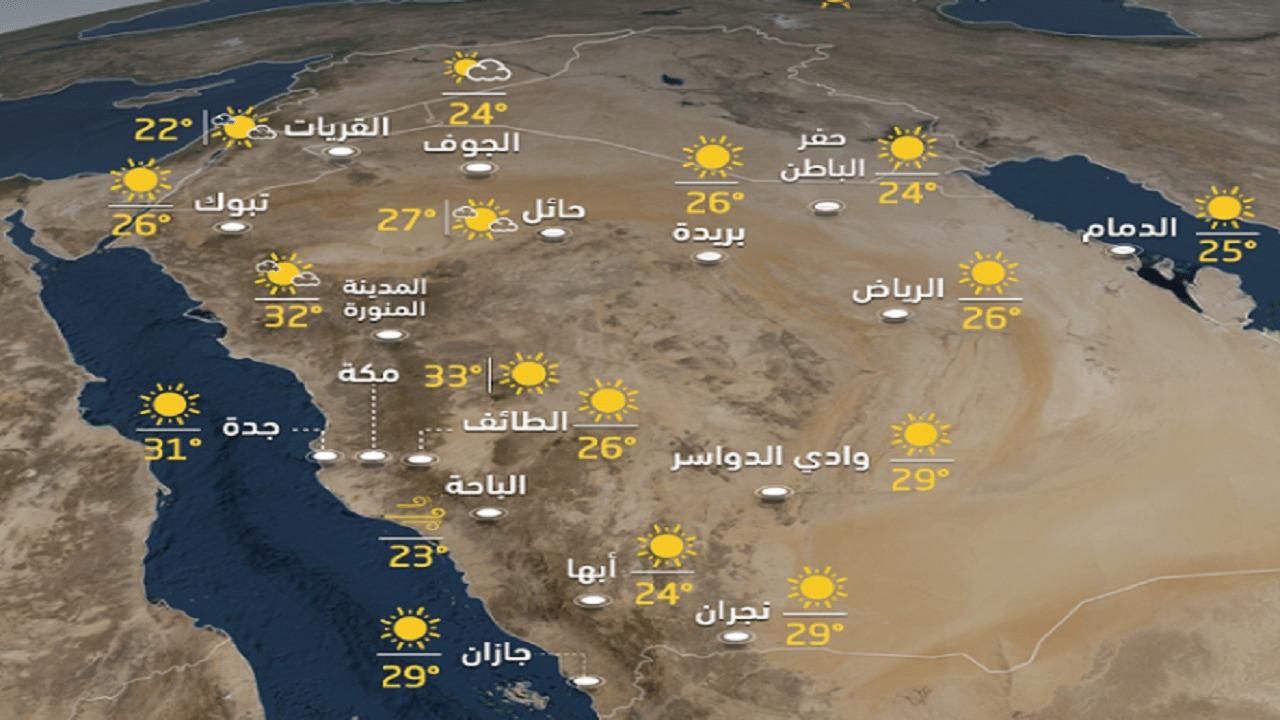 توقعات الطقس اليوم الثلاثاء 15-7-1441هـ
