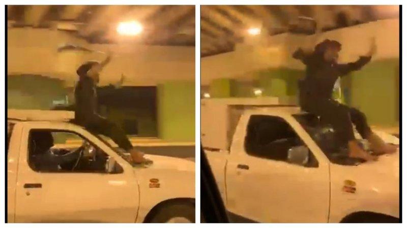 بالفيديو.. متهور يحتفل باليوم الوطني بالجلوس على زجاج سيارة تسير بسرعة في الرياض