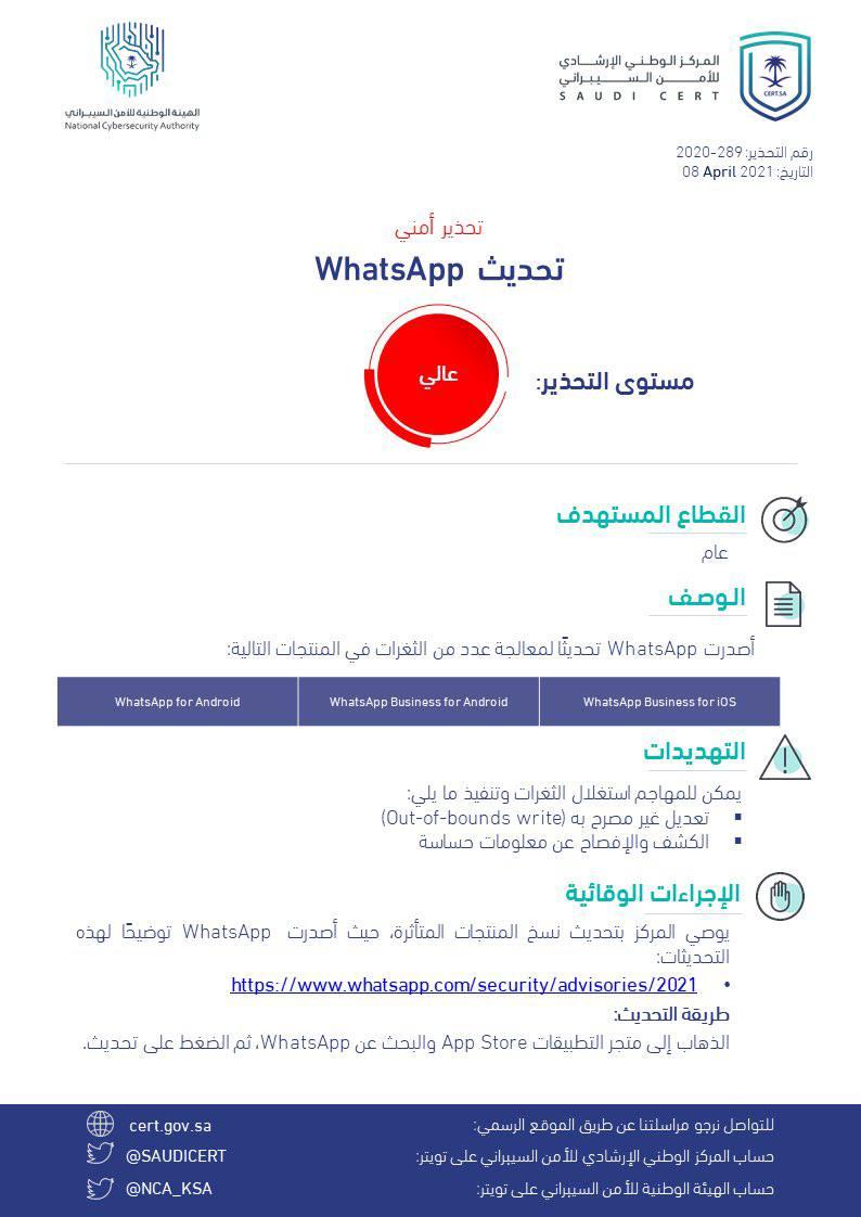 """تحذير أمني عالي الخطورة من الأمن السيبراني لمستخدمي """"واتساب"""""""